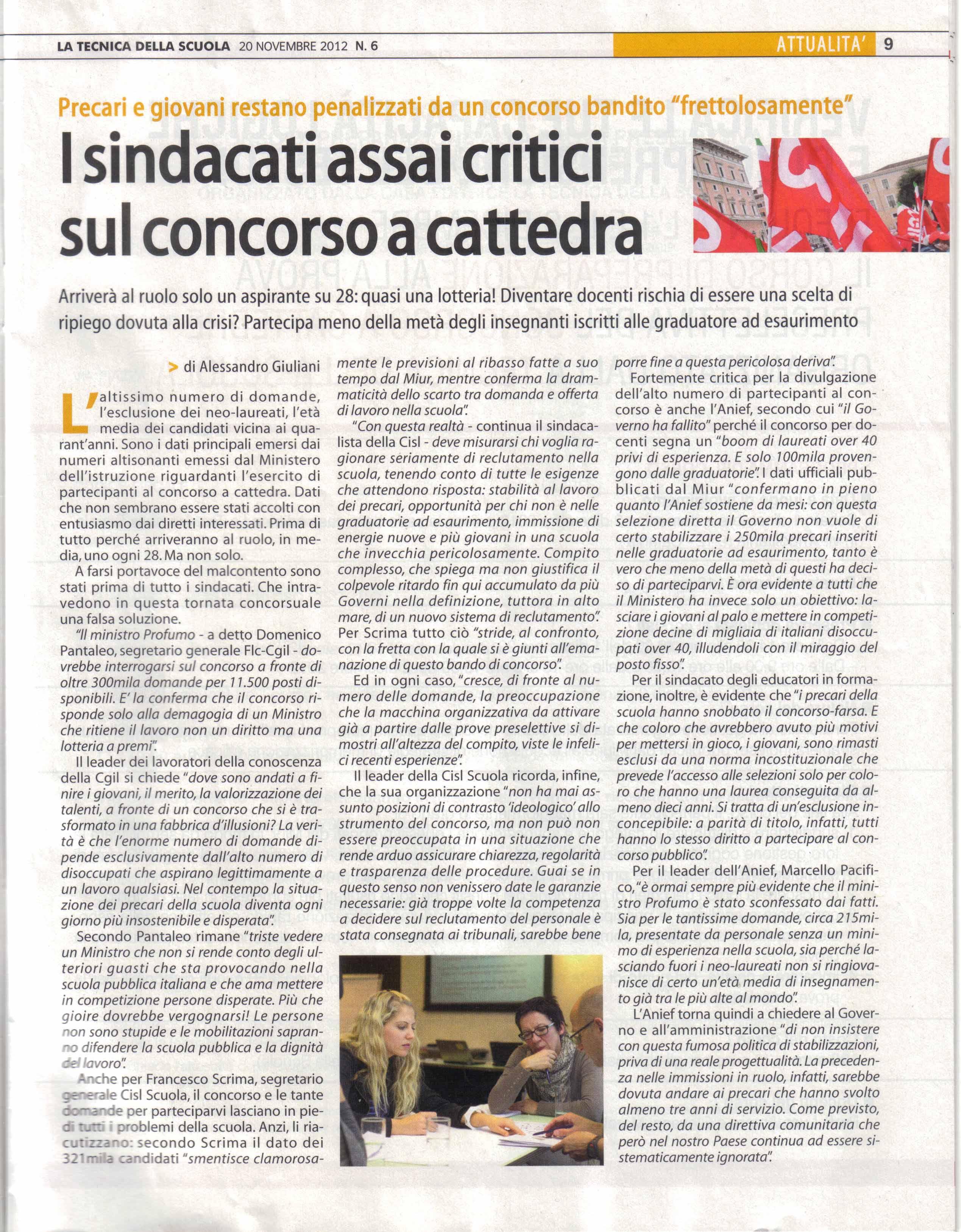 Tecnica della Scuola del 20 nov 2012 I sindacati critici su concorso a